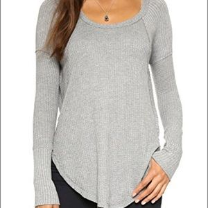 Free People Ventura waffle tunic heather gray-Med
